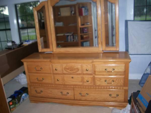 Photo Oak Dresser with Triple Mirror - $400 (Foley)