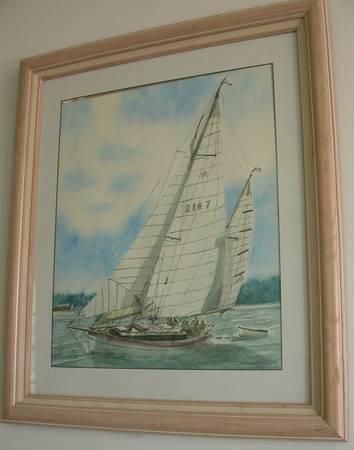 Photo Original Joe Sheffield watercolor paintings Sail Boats of Mobile Bay (Pittsboro)