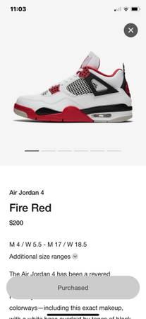 Photo Air Jordan 4 Retro Fire Red - $300 (Riverbank)