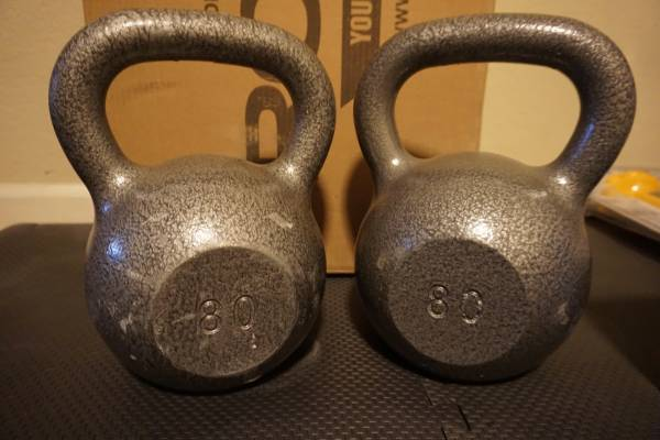 Photo FS Weider 80 Lb. Cast Iron Kettlebell Set (2)  (1) 15 lbBrand New - $260 (Modesto)