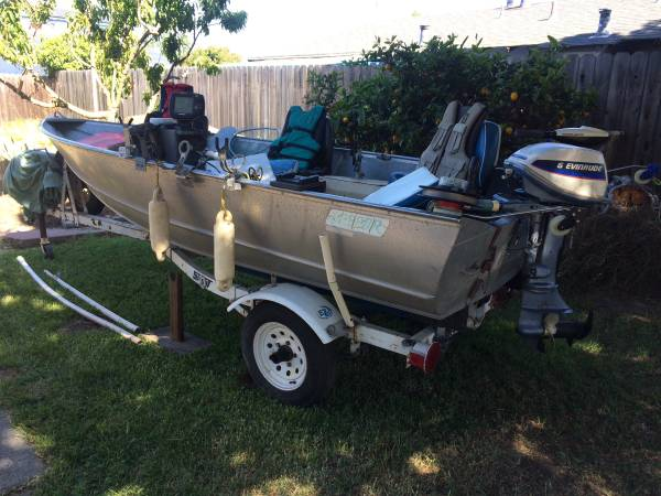 Photo Gregor 14ft aluminum fishing boat with extras - $3,500 (Fremont)