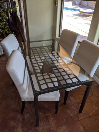 Photo Ikea GlassMetal Table x 4 Ikea Chairs - $450 (KINGMAN)