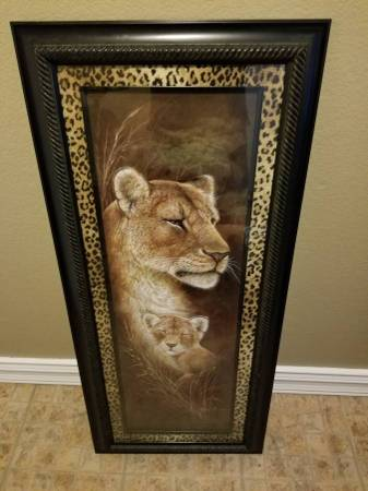 Photo Lion and Cub framed 44quot by 19.5quot framed picture glass front - $30 (Green Valley)