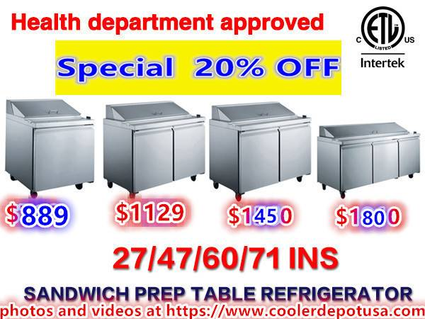 Photo NSF Pizza Prep Table 50 ins PICL1 Salad Sandwich Prep Table Refriger - $2,092 (100 NEW)