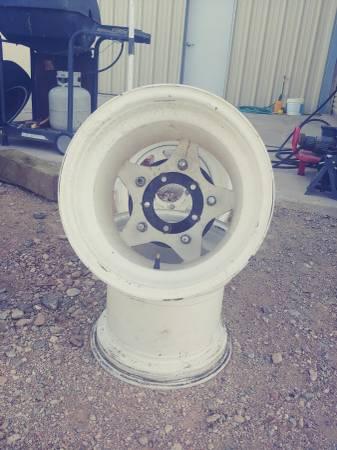 Photo VW wide 5 Wheels white spoke 10 x 15, - $100 (Meadview)
