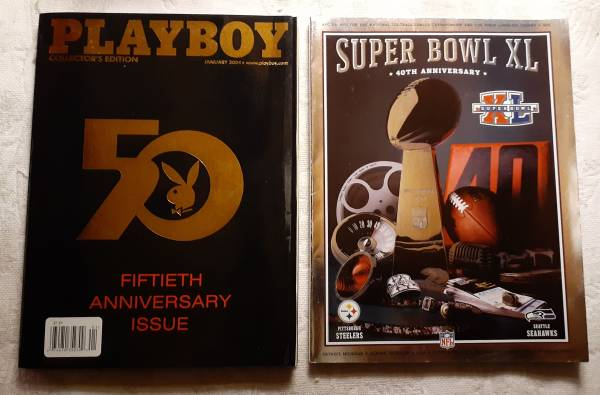 Photo Playboy 50th anniversary and superbowl 40th anniversary magazine39s - $30 (Dearborn Heights)