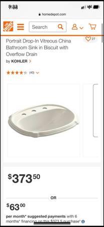 Photo Kohler bathroom sink - $120 (Salinas)