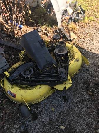 Photo I was told this is a John Deere 42quot Mower deck with rear bagger discha - $75 (Uniontown Pa)