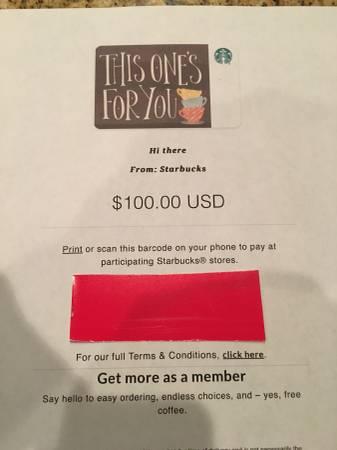 Photo $100 Starbucks Gift Card - $60 (Myrtle Beach)