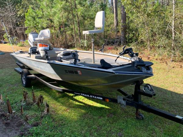 Photo 1999 Bass Tracker 18 Pro Team 185 90hp Tracker Self Mixing Motor Bass Boat Pr - $4500 (Carolina Forest)