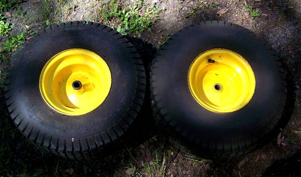 Photo 2 John Deere lawn tractor tires and wheels. Size 20x8.00-8NHS - $45 (Conway)