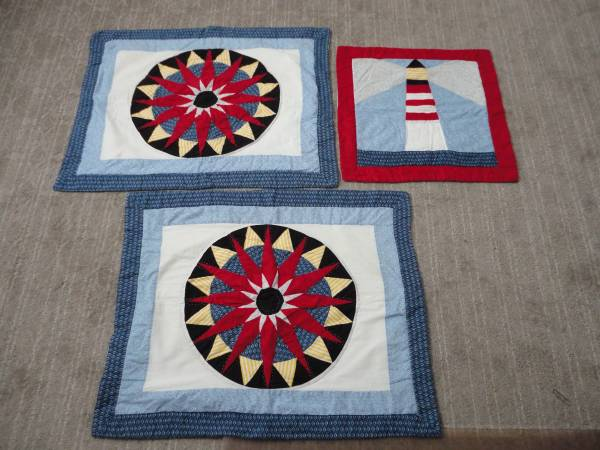 Photo 3 Handmade Nautical Beach Pillow Quilted Pillow Shams - $10 (Surfside Beach)