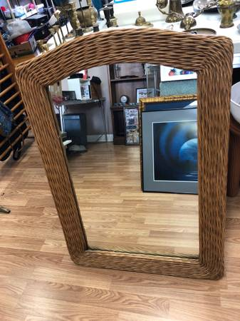Photo Brown Wicker Mirror - $25 (Surfside Beach)