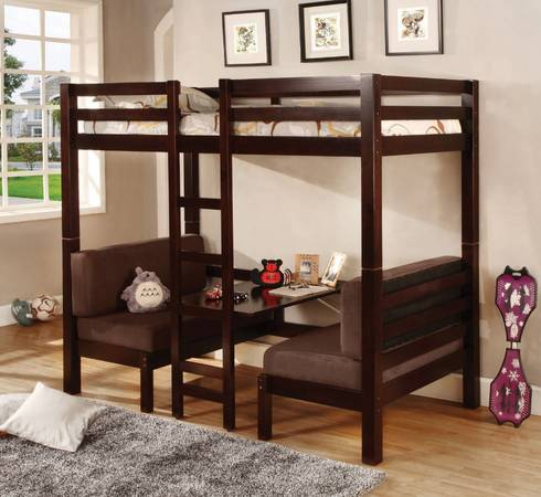 Photo Joaquin Dark Rich Wood Twin Over Twin Convertible Loft Bed -Paid $1700 - $699 (N Myrtle Beach)
