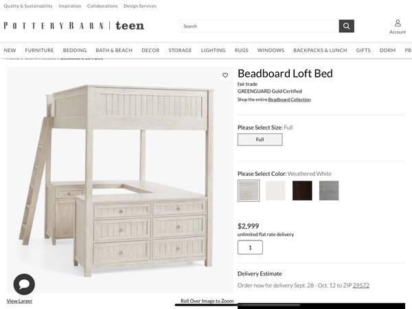 Photo Pottery Barn Kids Girls Bedroom Set Beadboard Loft Bed Dresser  Desk - $1,800 (Carolina Forest)
