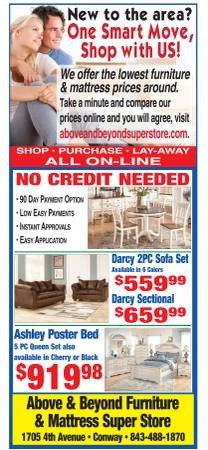 Photo WHY SETTLE FOR USED WHEN YOU CAN GET BRAND NEW FURNITURE FOR LESS (ABOVE  BEYOND SUPER STORE, CONWAY OPEN 7 DAYS A WK.)