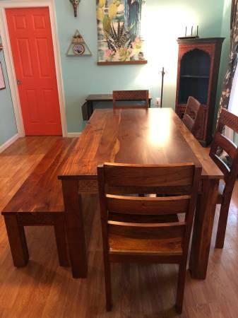 Photo World Market Acacia Wood Dining Table Set - $400 (PAWLEYS ISLAND)