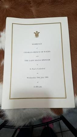 Photo Wedding program of Prince Charles and Diana - $1,500 (Madisonville)