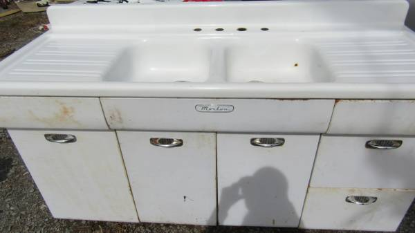 Vintage Morton Kitchen Sink Cabinet And Double Drainboard Sink 450 Scottsville Ky Materials For Sale Nashville Tn Shoppok