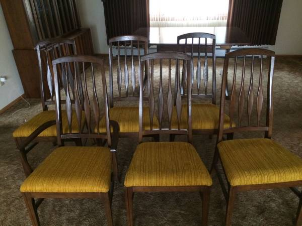 Photo Mid century Danish modern set of 6 oak 1960 vintage dining chairs signed by Kel - $496