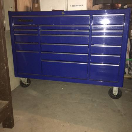 Photo Blue Snap On Tool Box Roll Cab, Triple Bank, 19 Drawers - $6500 (Branford)