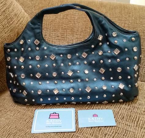 Photo Kathy Van Zeeland Teal Rhinestone  Silver Studded Purse Handbag - $40 (Shelton)