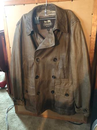 Photo Men39s Size Medium Coach Leather Brown Leather Jacket Coat - $45 (West Haven)