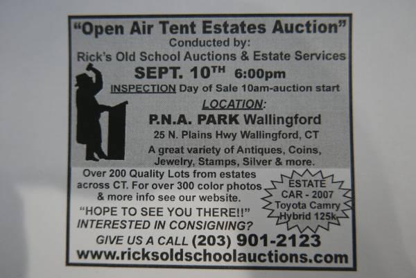 Photo OPEN AIR TENT ANTIQUES  COIN ESTATE AUCTION (WALLINGFORD , CT)