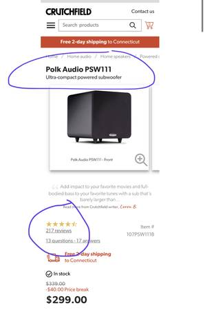 Photo Polk Audio PSWIII Ultra Compact Subwoofer - $100 (Milford, CT)