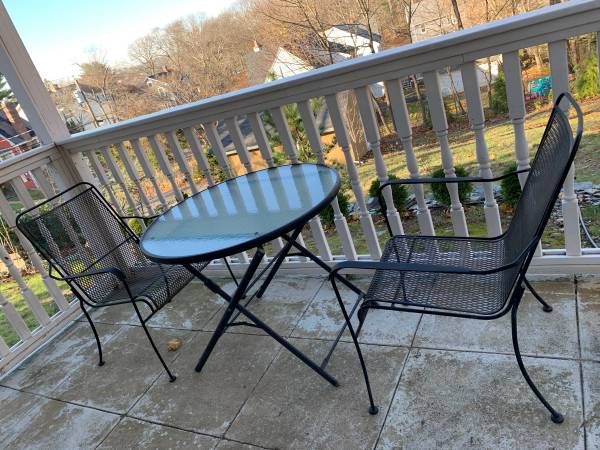 Photo Small Patio Glass Top Table and 2 Wrought Iron Chairs - $80 (West Haven)