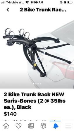 Photo Bike Rack. 2 bike trunk rack. Saris-Bones - $130 (Lincoln Park)