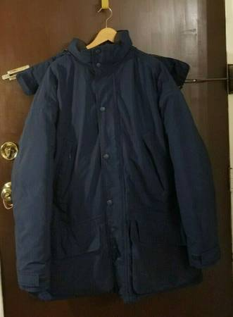 Photo Eddie Bauer Goose Down Puffer Jacket With Hood Men Large Navy Blue - $53 (Little Ferry)