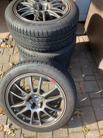 Photo Enkei GTC 01 Racing Rims Made in Japan Twin Valve set with Tires - $1250 (Little Falls)