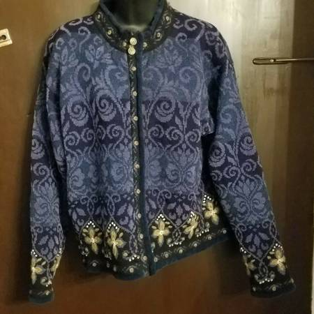 Photo Icelandic Design Fully Lined  Zipped Blue Wool Cardigan Size Large - $60 (Little Ferry)