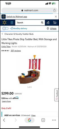 Photo Little tikes pirate ship toddler bed with mattress used 23 times (Lodi)