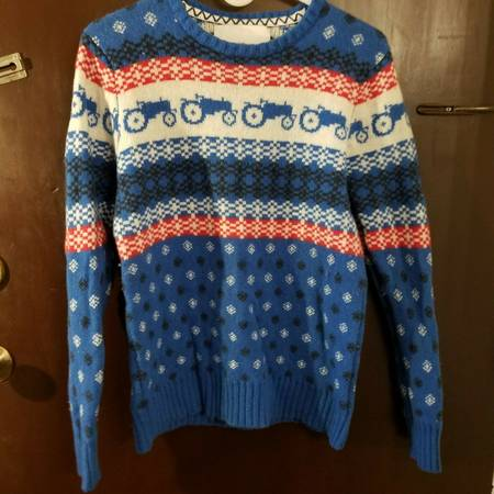 Photo Moods Of Norway Sweater Tractor Fair Isle Nordic Blue Wool Crew Neck S - $70 (Little Ferry)