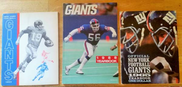 Photo NY Giants - Football Yearbooks (1963, 1965  1988) (Long Valley)