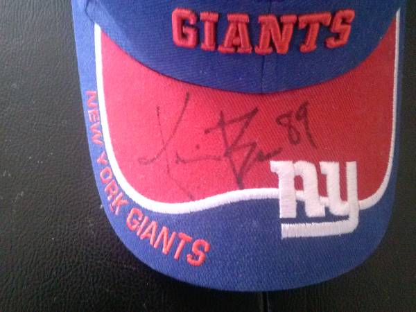 Photo NY Giants signed hat-$30 (Westwood)