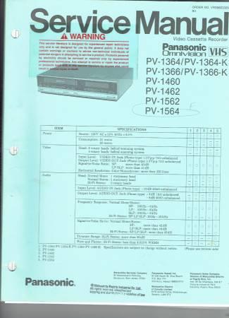 Photo Panasonic VHS Video Cassette Recorder Service Manual PV-1000 series - $10 (Morristown)