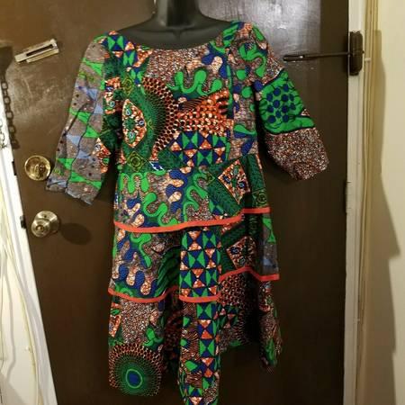 Photo Ssamzie Colorful Green Blue Orange Cotton Tiered Swing Dress Size 8 - $50 (Little Ferry)