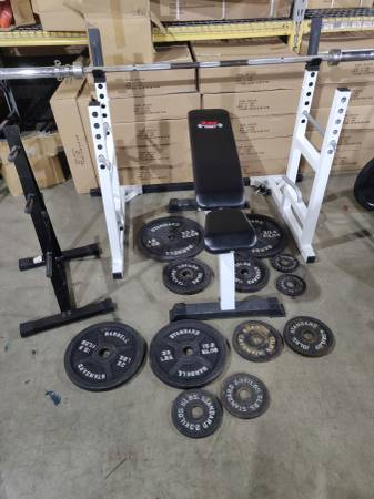 Photo York Barbell Olympic Weight Set 2quot squat rack bench bar plates - $475 (Totowa)