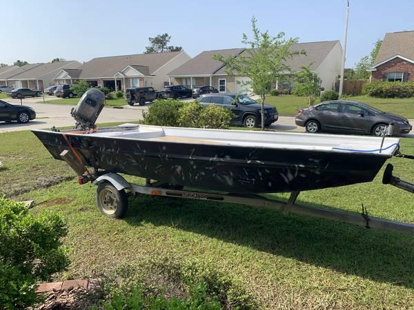 Photo 14 Ft Flat bottom Aluminum- Boat, trailer, motor - $3,400 (Slidell)