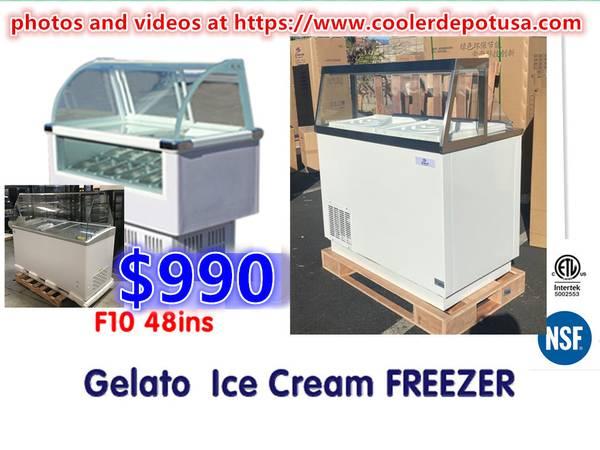 Photo Commercial Glass GelatoIce-CreamPopsicle Freezer Display Case - $990 (100 new)