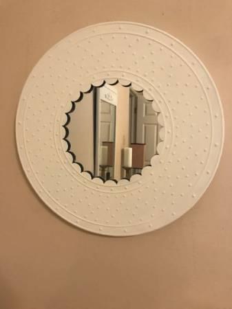 Photo Mirror, metal, round, white - $35 (Metairie)