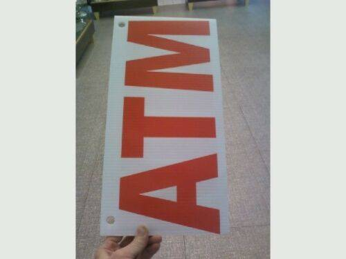 Photo Corrugated plastic 4 mm thick double sided Red on White ATM sign W 16quot - $15