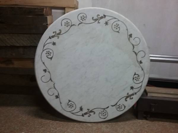 Photo One round white marble tabletop with stone inlay - $200 (Downtown Brooklyn)