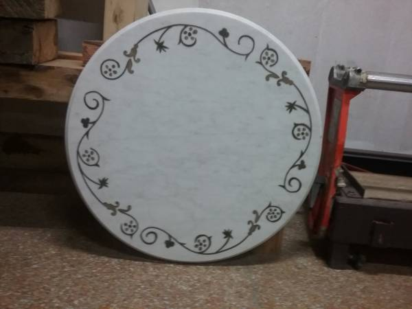Photo One round white marble tabletop with stone inlay - $150 (Downtown Brooklyn)