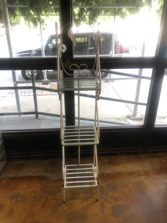 Photo Plant stand, metal white iron and glass 3 shelves - $125 (Williamsbrg)