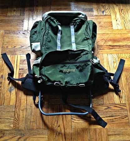 Photo Vintage Forest Green Jansport External Frame 6 Pocket Hiking Backpack - $85 (Brooklyn)