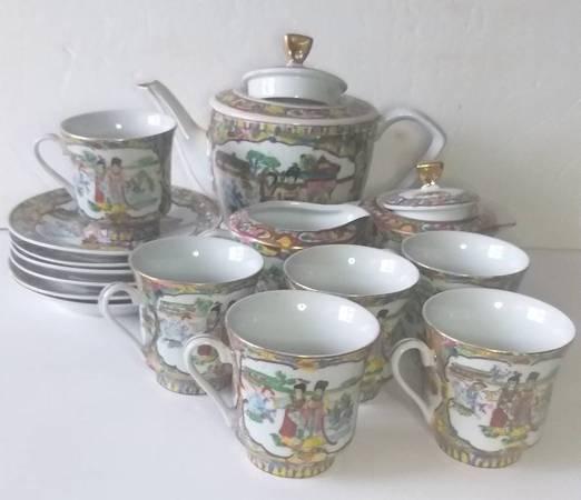 Photo Vintage Porcelain Luxury Bone Coffee  Tea set 17pcs Fine China Scenes - $78 (brooklyn)